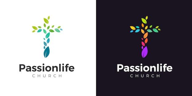 Modèle de logo d'église avec des feuilles