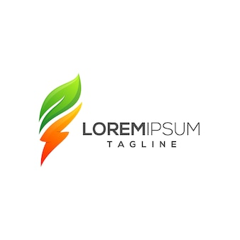 Modèle de logo électrique leaf