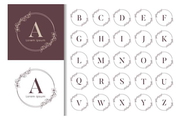 Modèle de logo élégant cadre floral