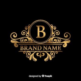 Modèle de logo élégant doré avec ornements