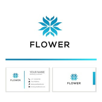 Modèle de logo élégant fleur abstraite avec carte de visite