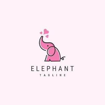 Modèle de logo d'éléphant mignon