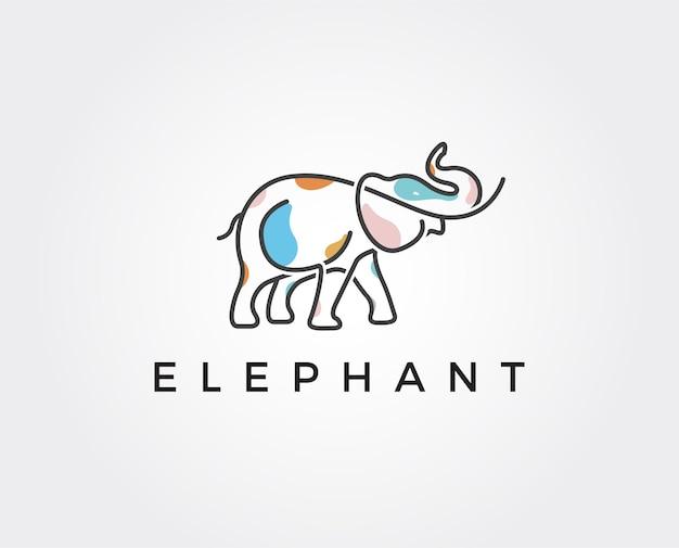 Modèle de logo d'éléphant minimal