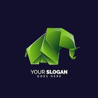 Modèle de logo éléphant origami mignon