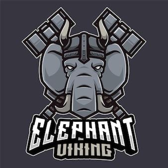 Modèle de logo elephant viking