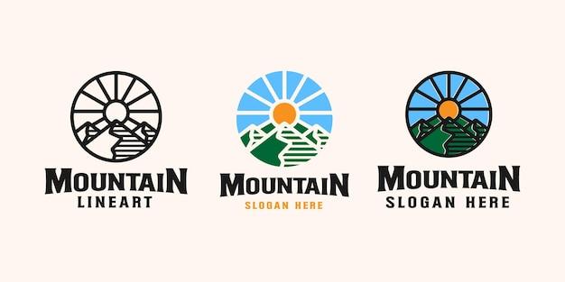 Modèle de logo emblème aventure en montagne