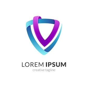Modèle de logo emblème bouclier lettre v