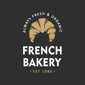 Modèle de logo d'emblème d'insigne d'étiquette simple de boulangerie de style vintage