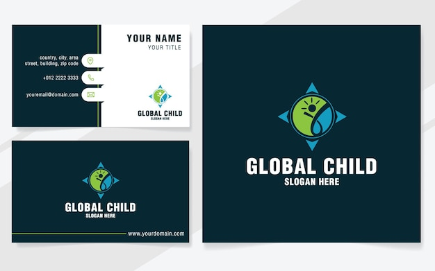 Modèle de logo enfant global sur un style moderne