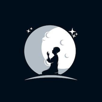 Modèle de logo enfants priant sur la lune
