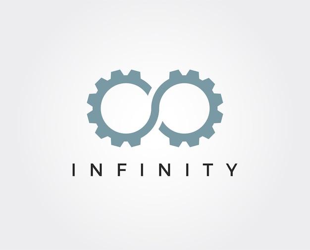Modèle de logo d'engrenage à l'infini minimal