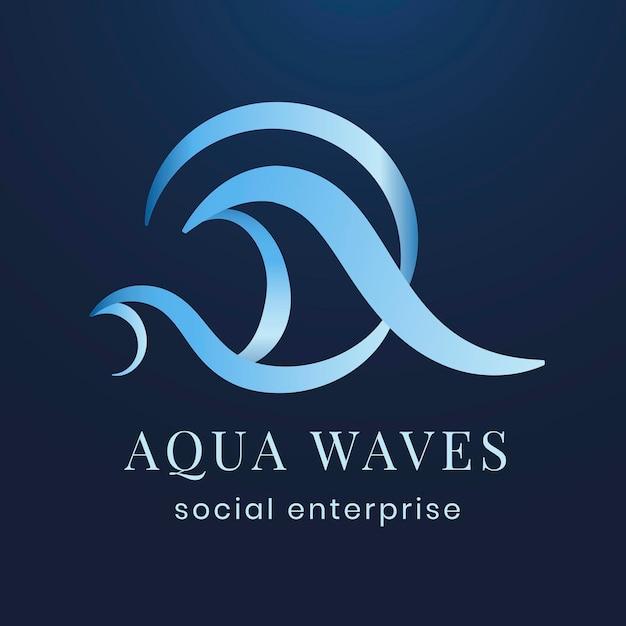 Modèle de logo d'entreprise aqua, vecteur de design plat couleur créative professionnelle