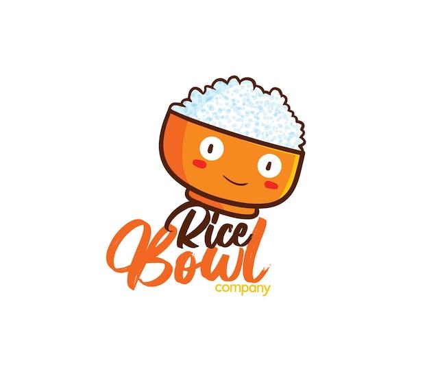 Modèle de logo d'entreprise de bol de riz