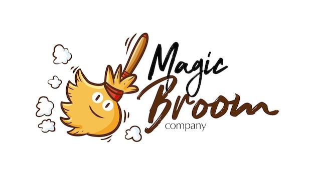 Modèle De Logo D'entreprise Drôle De Balai Magique Vecteur Premium