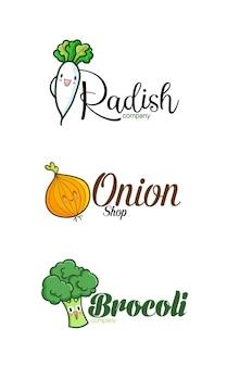 Modèle De Logo D'entreprise Drôle D'oignon Radis Et Brocoli Vecteur Premium
