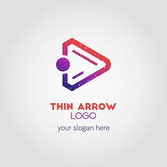Modèle de logo d'entreprise flèche droite coloré à l'aide d'un double effet d'exposition