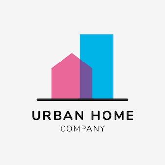 Modèle de logo d'entreprise immobilière pour le vecteur de conception de marque, texte d'entreprise à domicile urbain
