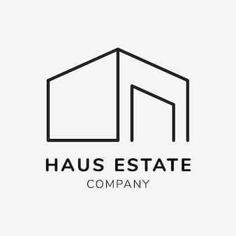Modèle de logo d'entreprise immobilière pour le vecteur de conception de marque, texte de société immobilière haus