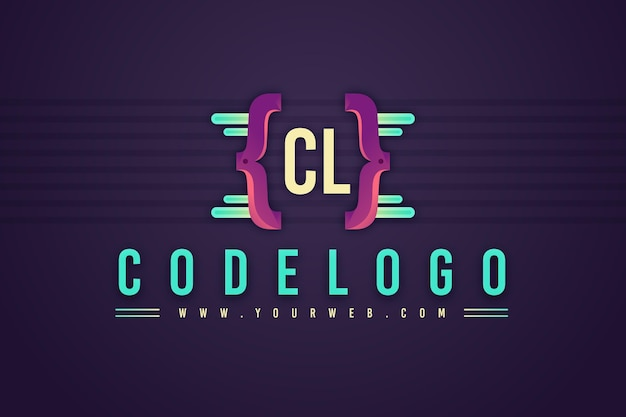 Modèle de logo d'entreprise de programmation dégradé