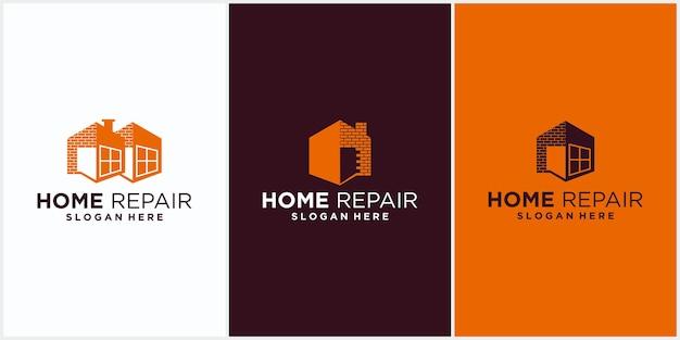 Modèle de logo d'entreprise de rénovation domiciliaire immobilier