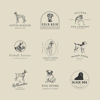 Modèle de logo d'entreprise vintage avec ensemble de chiens vintage, remixé à partir d'œuvres d'art de moriz jung
