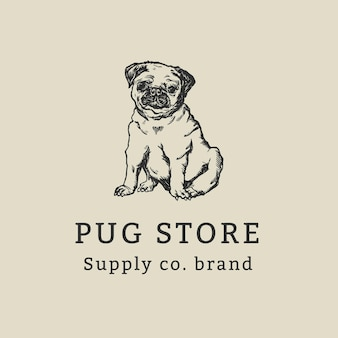 Modèle de logo d'entreprise vintage avec illustration de carlin chien vintage