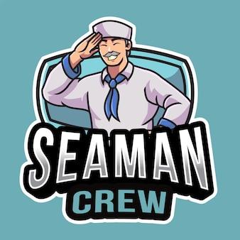 Modèle de logo d'équipage de marin