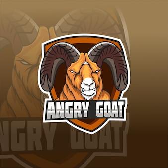 Modèle de logo d'équipe e-sports de chèvre en colère