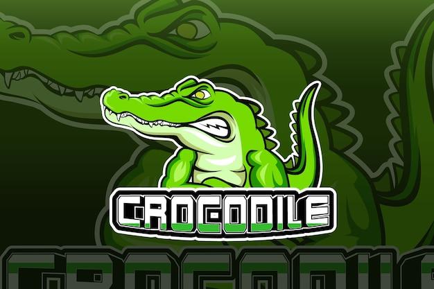 Modèle de logo d'équipe e-sports de crocodile
