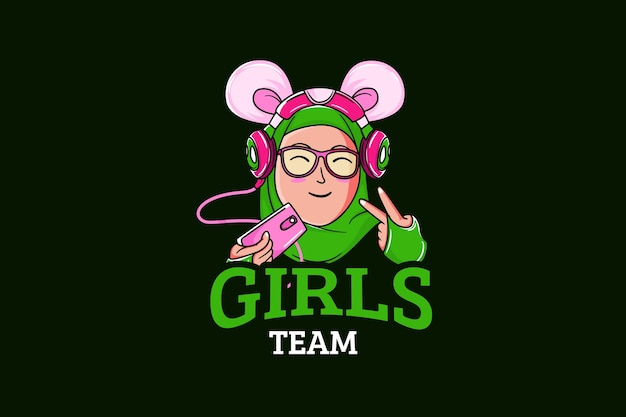 Modèle de logo d'équipe e-sports avec fille