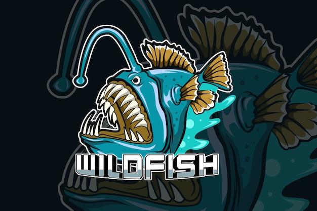 Modèle de logo d'équipe e-sports prédateur de poissons sauvages
