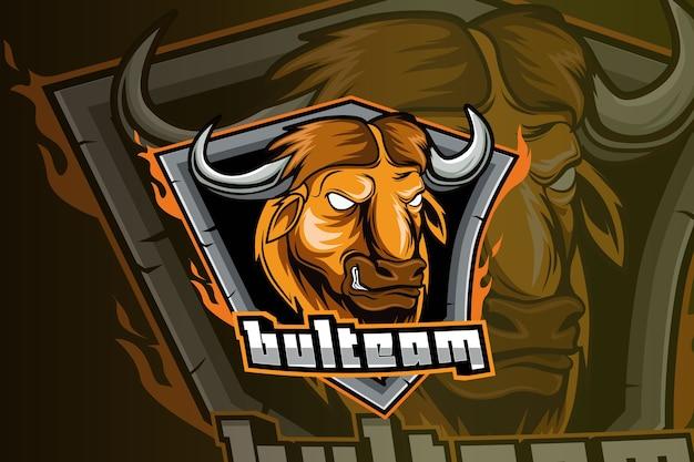 Modèle de logo d'équipe e-sports taureau en colère