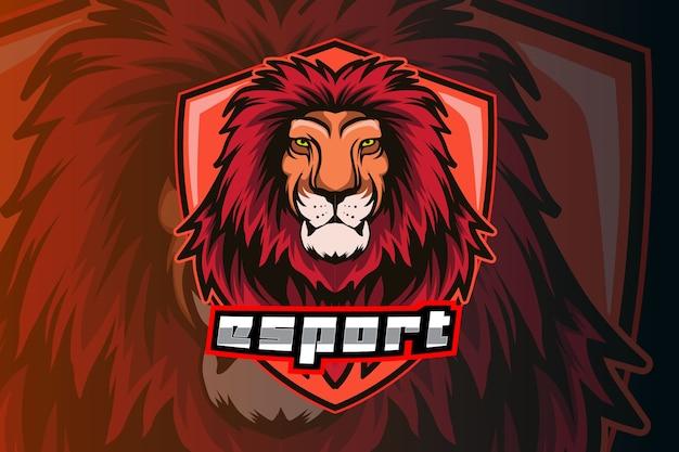 Modèle de logo d'équipe e-sports tête de lion
