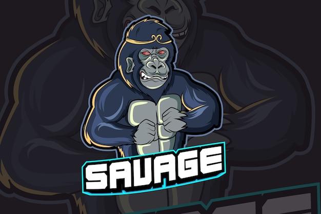 Modèle de logo d'équipe gorilla e-sports