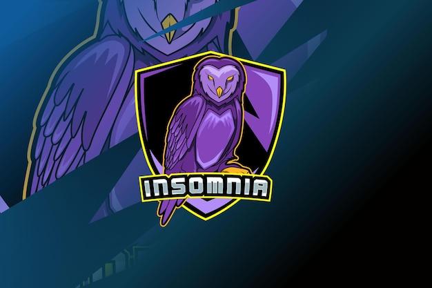 Modèle de logo d'équipe hibou e-sports
