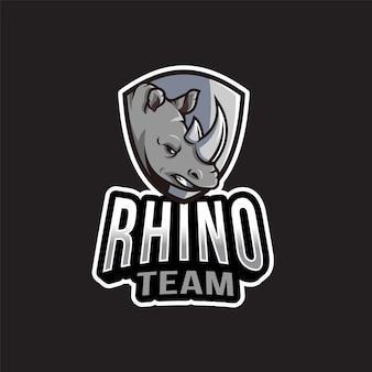 Modèle de logo d'équipe rhino