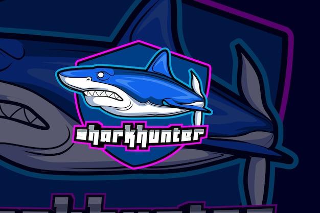 Modèle de logo d'équipe shark e sports