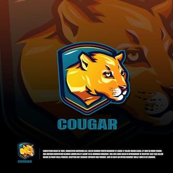 Modèle de logo d'équipe sport cougar