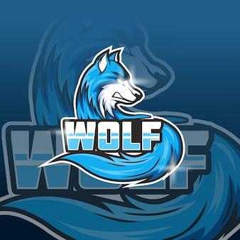 Modèle de logo d'équipe wolf e-sports