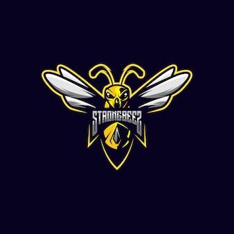 Modèle de logo esport d'abeilles fortes
