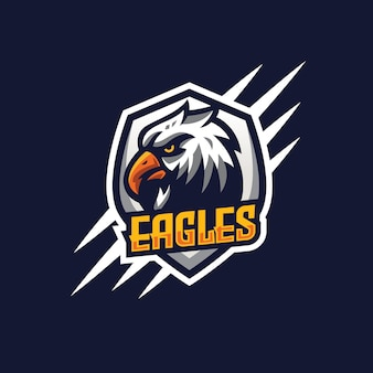 Modèle de logo esport aigle moderne