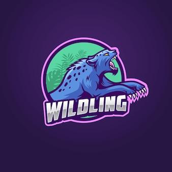 Modèle de logo d'esport de chat sauvage