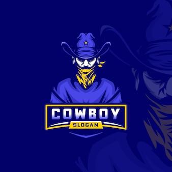 Modèle de logo esport cowboy