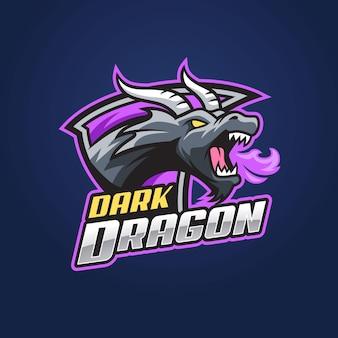 Modèle De Logo Esport Dragon Noir Vecteur Premium