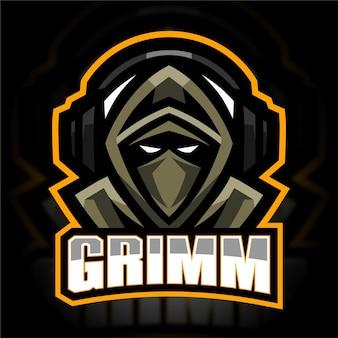 Modèle de logo esport grim gamer