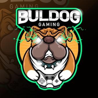 Modèle de logo esport jeu buldog en colère vecteur stock