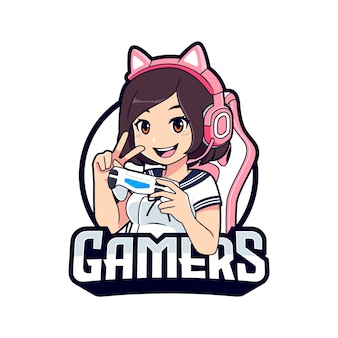 Modèle de logo esport kawaii gamer girl cartoon