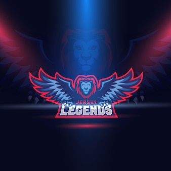 Modèle de logo esport lion eagle wings