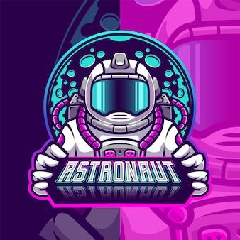 Modèle de logo d'esport de mascotte d'astronaute
