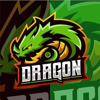 Modèle de logo esport mascotte dragon